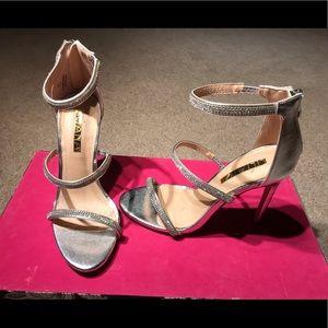 3 strap sparkle heels